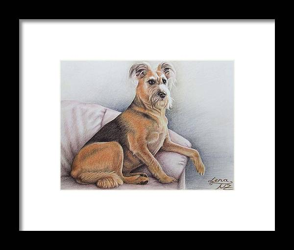 Dog Framed Print featuring the pastel Lena by Nicole Zeug