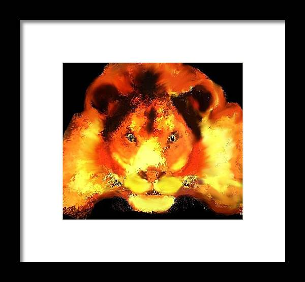 Lion Animal Orange Red Framed Print featuring the digital art Leo by Bethwyn Mills