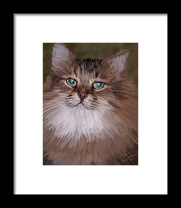 Cat Framed Print featuring the painting Leo by David Wagner