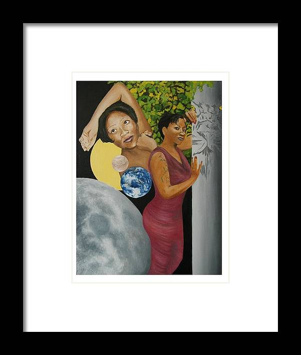 Portrait Framed Print featuring the painting Leo Queen Tiffany by Angelo Thomas