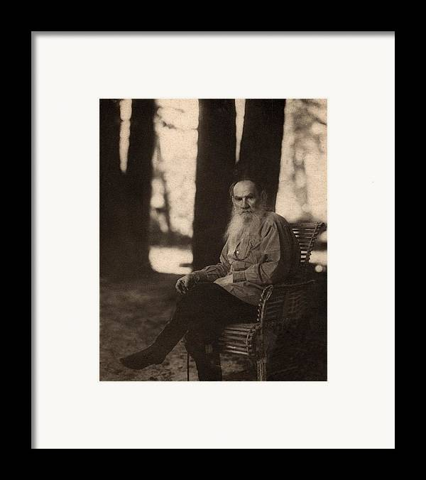Historical Framed Print featuring the photograph Leo Tolstoy 1828-1910 Russian Novelist by Everett