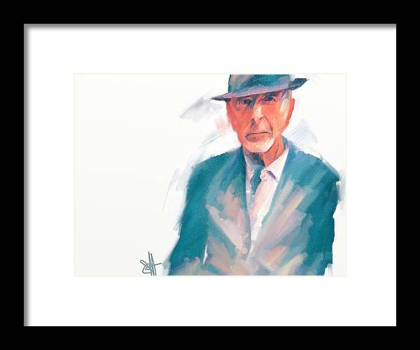 Leonard Cohen Music Portrait Musician Songwriter Framed Print featuring the digital art Leonard by Scott Waters
