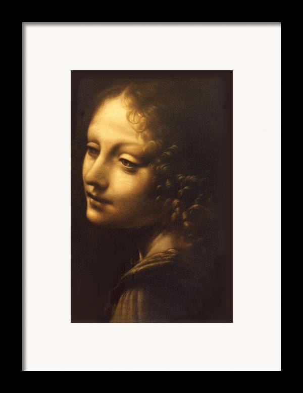 Angel Framed Print featuring the painting Leonardo- Angel From The Madonna Of The Rocks by Paul Herman