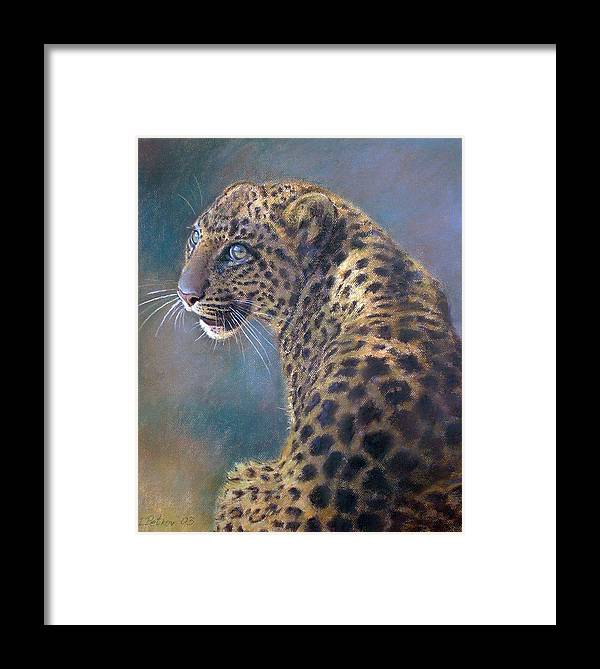 Cats Framed Print featuring the pastel Leopard by Iliyan Bozhanov