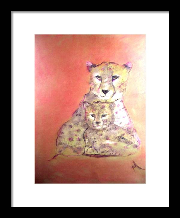 Wildlife Framed Print featuring the painting Leopard Love by Michela Akers