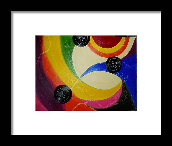 Abstract Framed Print featuring the painting Les Boutons Noirs 2 by Dominique Boutaud