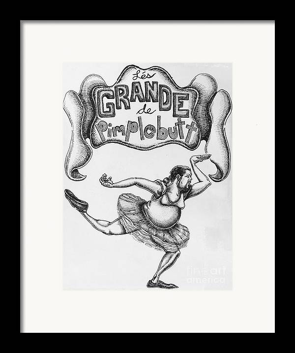 Comic Framed Print featuring the drawing Les Grande De Pimplebutt by Mack Galixtar