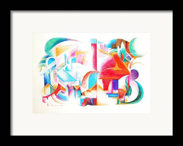 Abstract Framed Print featuring the drawing Les Temps Modernes by Muriel Dolemieux