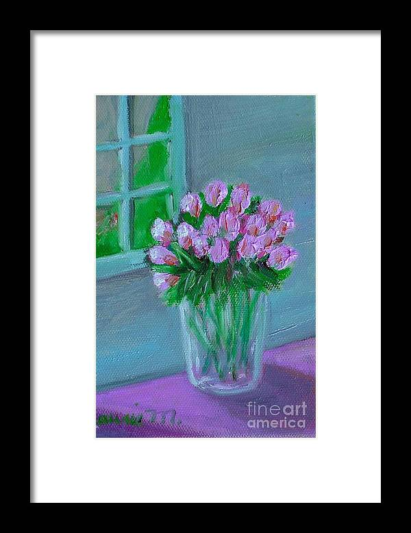 Rose Framed Print featuring the painting Leslie's Roses by Laurie Morgan