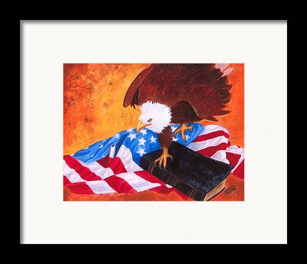 Eagle Framed Print featuring the painting Lest We Forget by Lorraine Foster