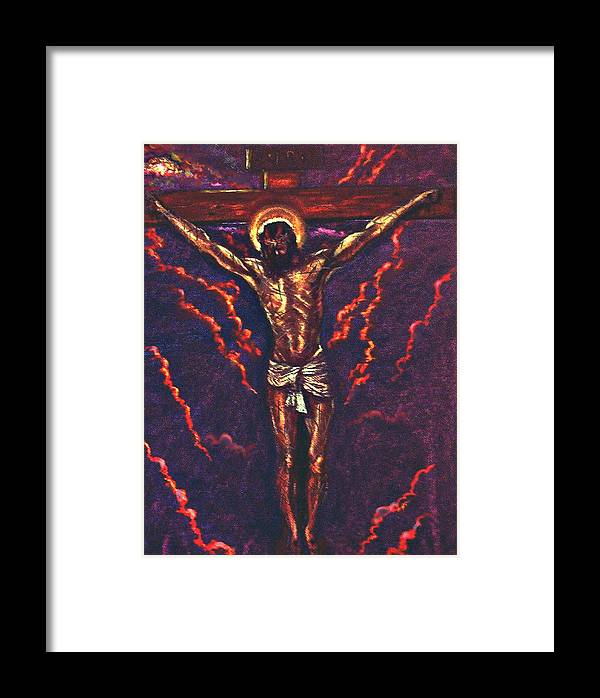 Christ Framed Print featuring the pastel Lest We Forget by Tommy Winn