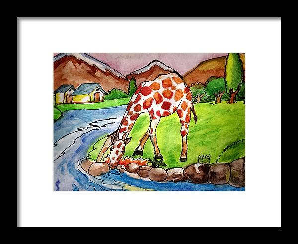 Landscape Framed Print featuring the painting Let Me Drink by Archit Singh