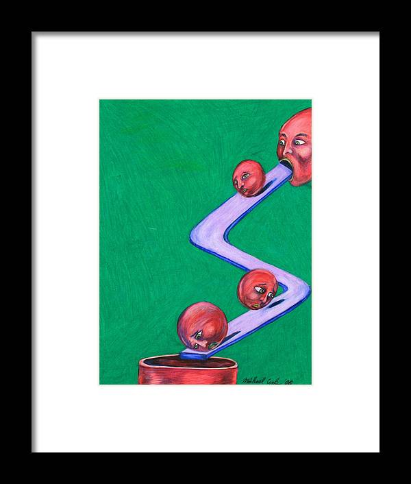 Surreal Rolling Heads Framed Print featuring the drawing Let's Roll by Michael Cook
