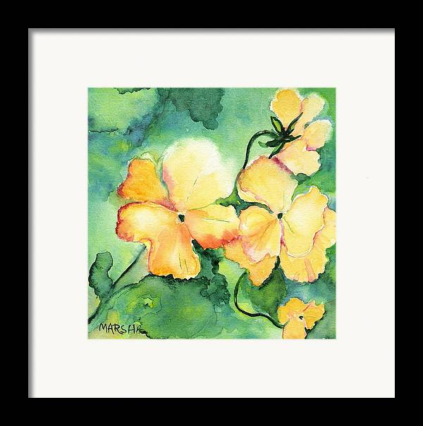 Yellow Pansy Green Floral Watercolor Painting Framed Print featuring the painting Let The Sun Shine Down by Marsha Woods