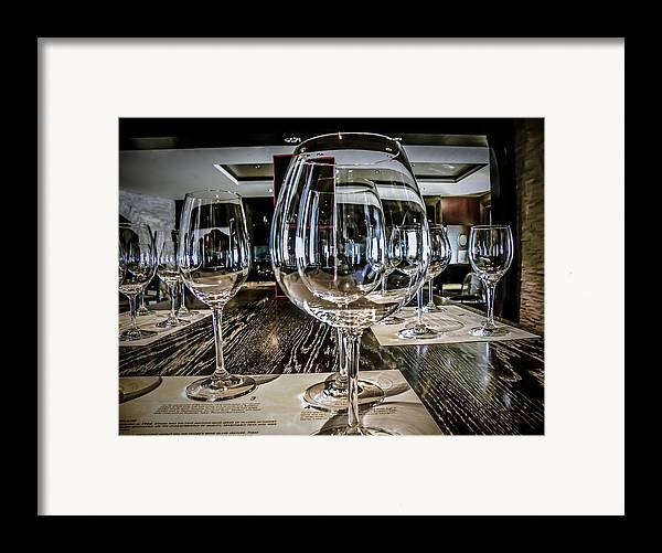 Wine Glasses Framed Print featuring the photograph Let The Wine Tasting Begin by Julie Palencia