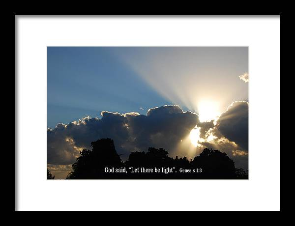 Christian Framed Print featuring the photograph Let There Be Light by Steven Rice