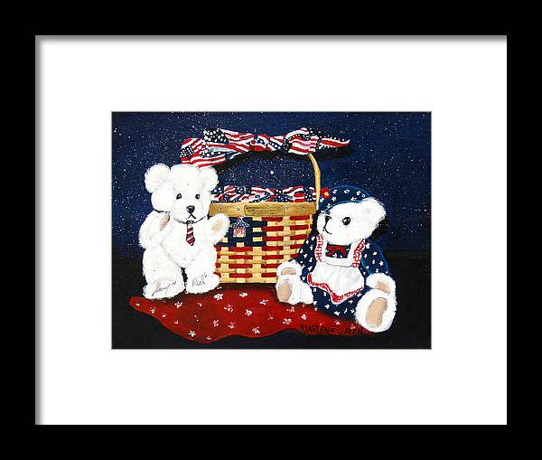 Teddy Bears Framed Print featuring the painting Let Us Celebrate by Darlene Green
