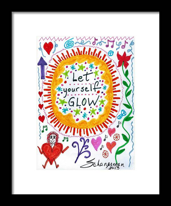 Doodle Art Framed Print featuring the drawing Let Yourself Glow by Susan Schanerman
