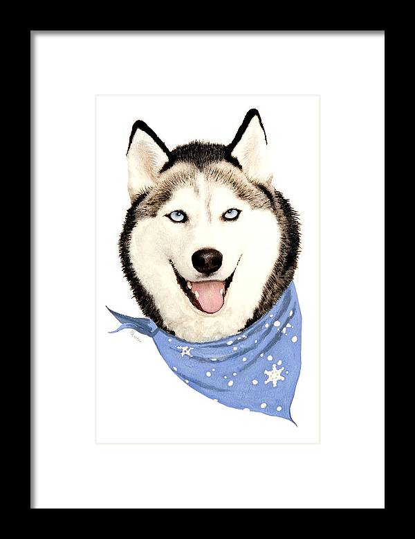 Siberian Husky Framed Print featuring the painting Lets Go by Brent Ander