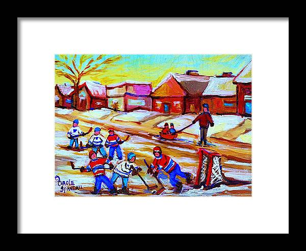 Hockey Canvas Prints Framed Print featuring the painting Lets Play Hockey by Carole Spandau