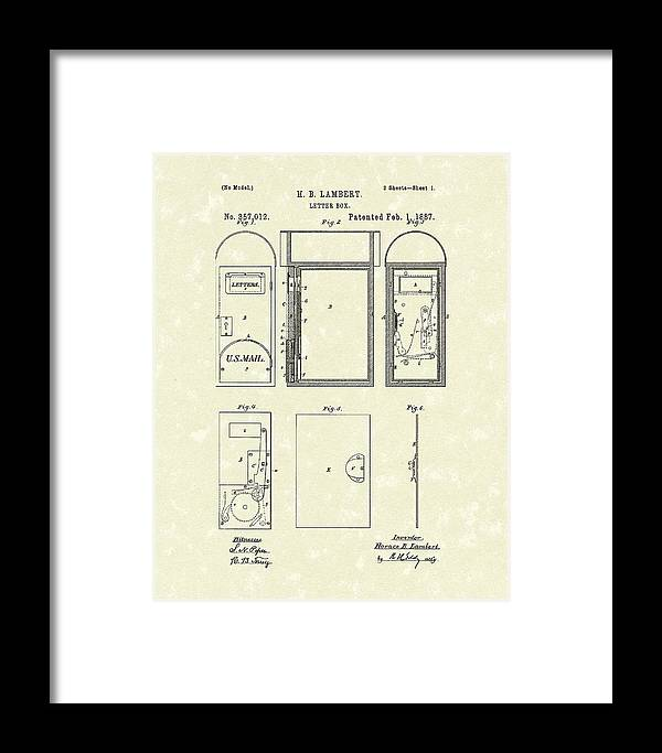 Lambert Framed Print featuring the drawing Letter Box 1887 Patent Art by Prior Art Design