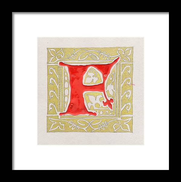 Letter Framed Print featuring the drawing Letter F by Kristine Jansone