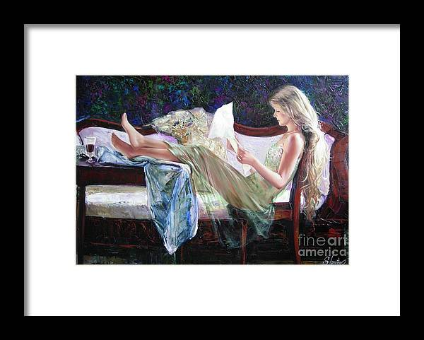 Figurative Framed Print featuring the painting Letter from him by Sergey Ignatenko