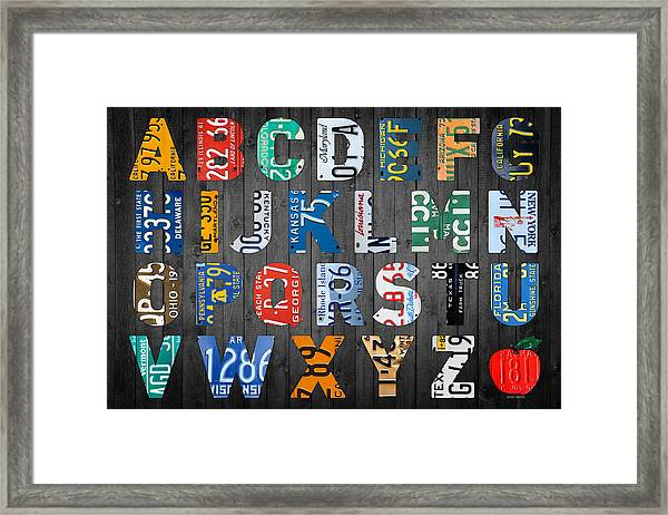 Letters Framed Print Featuring The Mixed Media Letters Of The Alphabet  Recycled Vintage License Plate Art