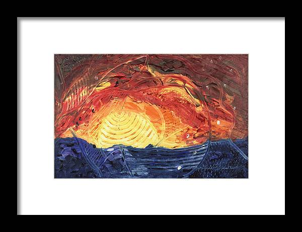 Abstract Framed Print featuring the painting Lever De Soleil by Dominique Boutaud
