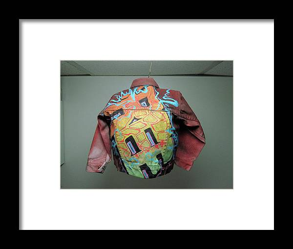 Canvas... Framed Print featuring the mixed media Levi Jacket by Ree Vilomar