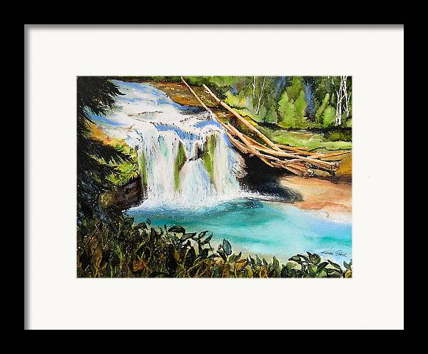 Water Framed Print featuring the painting Lewis River Falls by Karen Stark