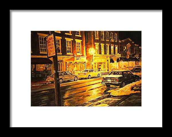 Street Scene Framed Print featuring the painting Lexington Street Light by Thomas Akers
