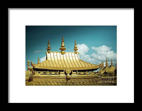 Tibet Framed Print featuring the photograph Lhasa Jokhang Temple Fragment Tibet Artmif.lv by Raimond Klavins