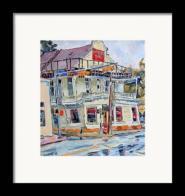 Liberty Bar Framed Print featuring the painting Liberty Bar In San Antonio. Rainy Day. by Vitali Komarov