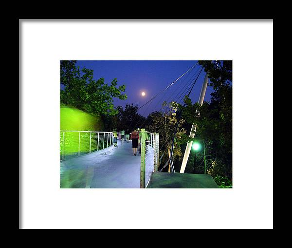Liberty Bridge Framed Print featuring the photograph Liberty Bridge At Night Greenville South Carolina by Flavia Westerwelle