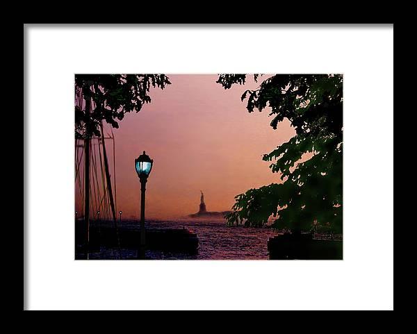 Seascape Framed Print featuring the digital art Liberty Fading seascape by Steve Karol