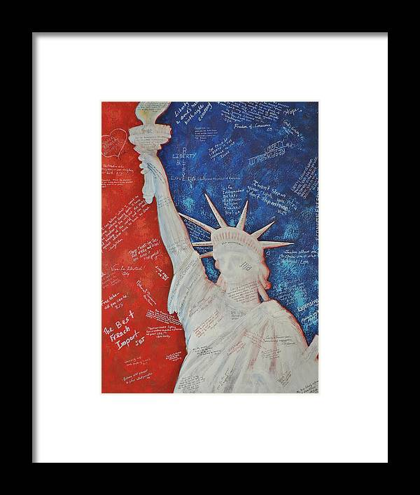 Statue Of Liberty Framed Print featuring the painting Liberty Is... by Margaret Bobb