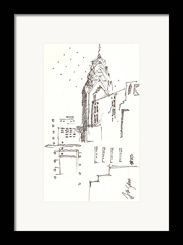 Liberty Place Framed Print featuring the drawing Liberty Place Philadelphia by Donna Frizano Leonetti