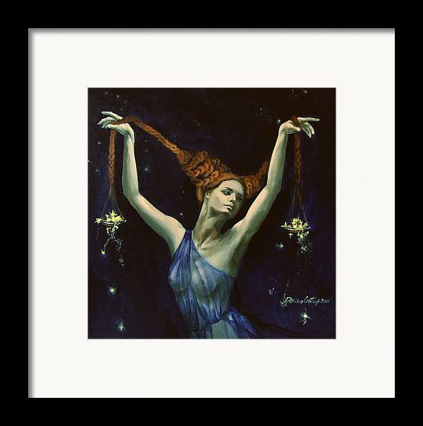 Art Framed Print featuring the painting Libra From Zodiac Series by Dorina Costras