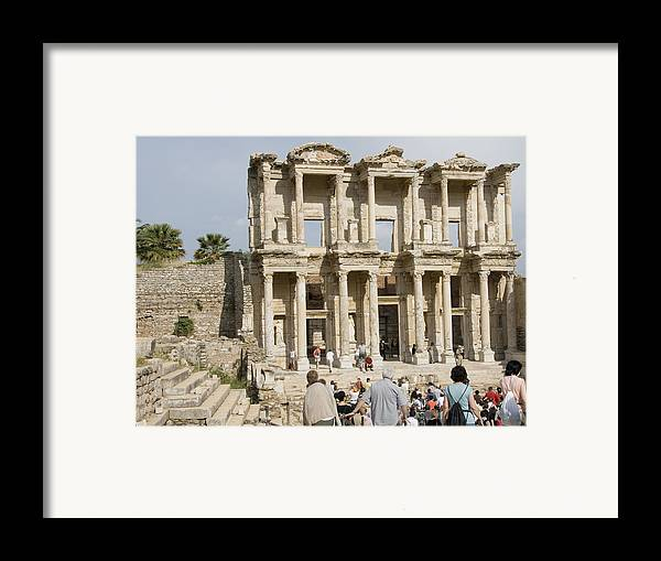 Ephesus Framed Print featuring the photograph Library Ruins At Ephesus Turkey by Charles Ridgway
