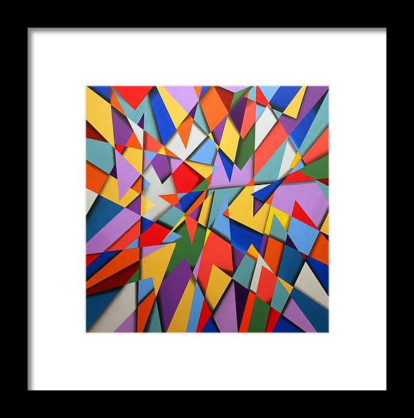 Abstract Based On The New Wing Of The Denver Art Museum Framed Print featuring the painting Libskind by Marston A Jaquis