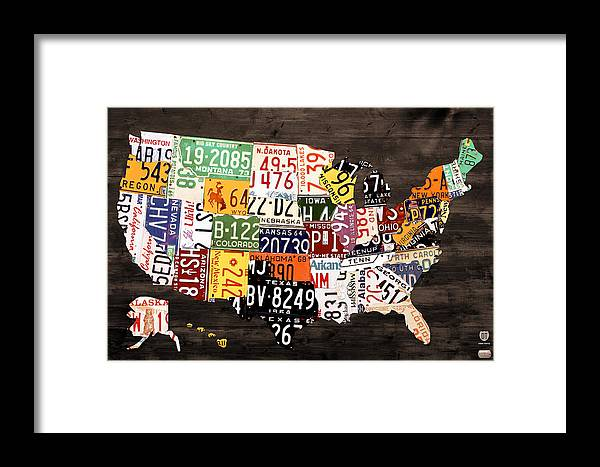 License Plate Map Framed Print featuring the mixed media License Plate Map Of The United States - Warm Colors / Black Edition by Design Turnpike
