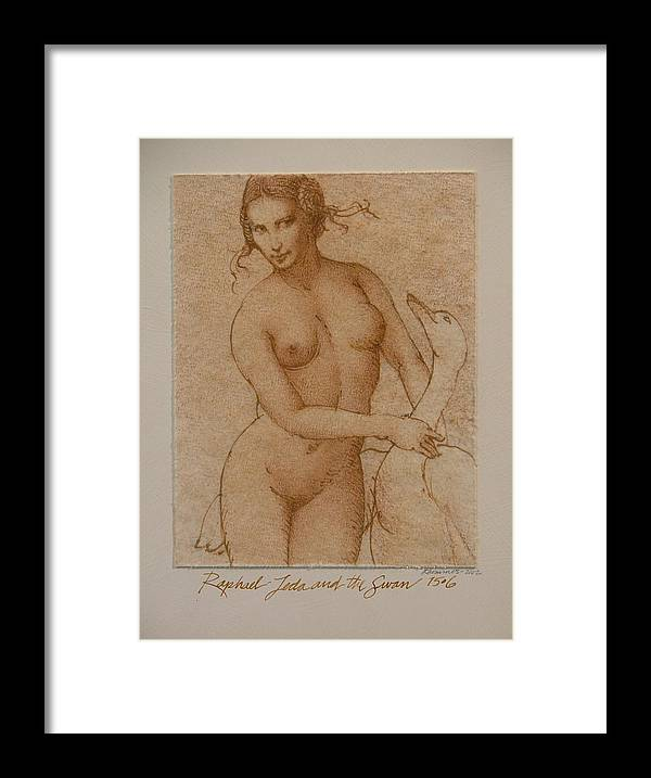 Classic Nude Framed Print featuring the painting Lida And The Swan After Raphael by Gary Kaemmer