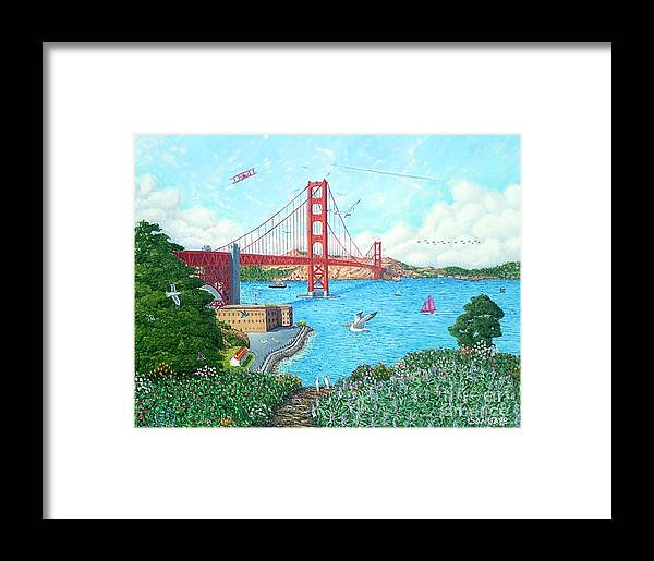 Impressionist Framed Print featuring the painting Life At The Golden Gate by Santiago Chavez
