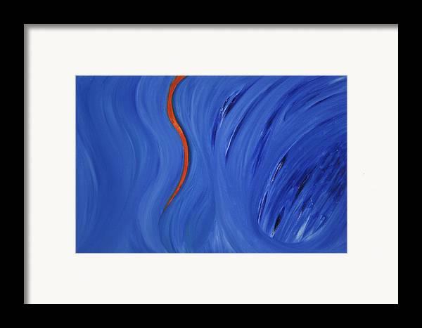 Framed Print featuring the painting Life Below Frozen Flow by Prakash Bal Joshi