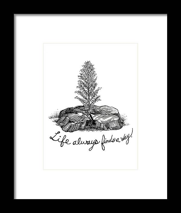 Pen And Ink Illustration Framed Print featuring the drawing LIfe Always Finds A Way by Rick Frausto