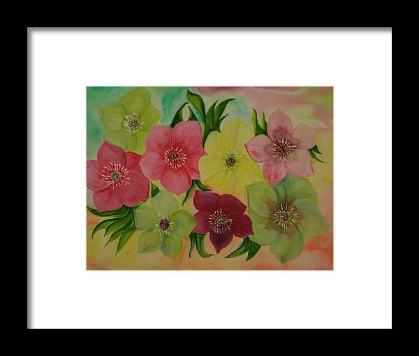 Flowers Framed Print featuring the painting Life In Color by Murielle Hebert