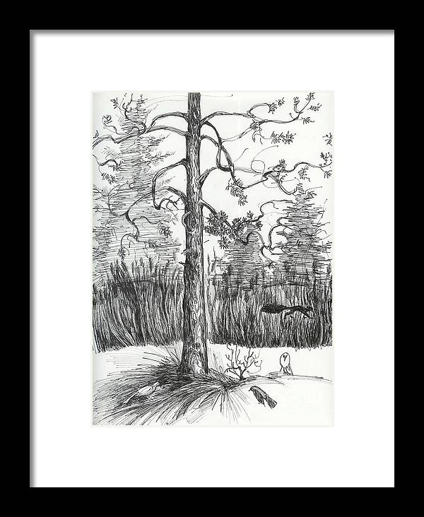 Sketch Framed Print featuring the drawing Life In The Forest by Anna Duyunova