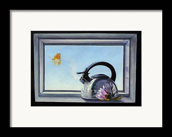 Steam Coming Out Of A Kettle Framed Print featuring the painting Life Is A Vapor by John Lautermilch