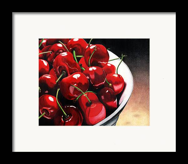 Cherries Framed Print featuring the painting Life Is.... by Angela Armano